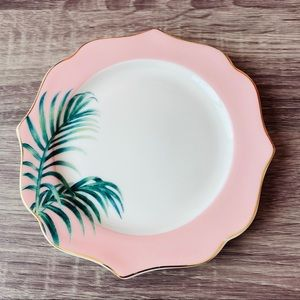 Grace's Teaware Palm Leaf Pink Scalloped Plate 5.5